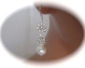 Bridal Jewelry Pearl Earrings Dangle Earrings Silver Crystal Earrings Wedding Jewelry - Clairesparklesbridal