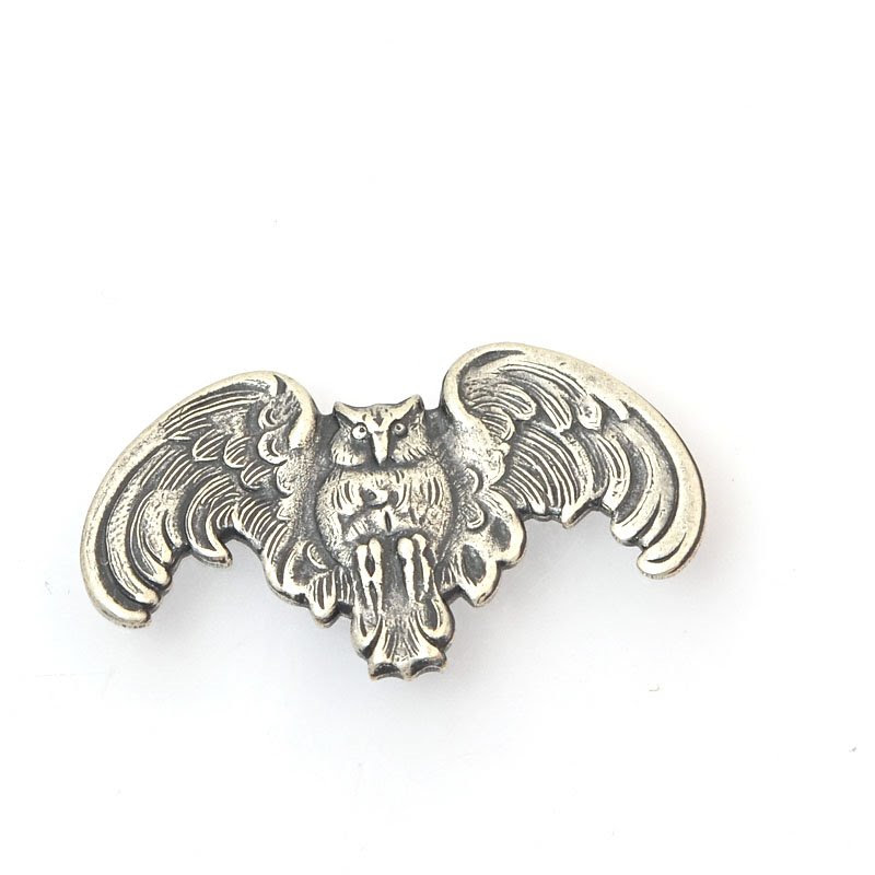 s39828 Vintage Style -  Goth Owl - Antiqued Silver (1)
