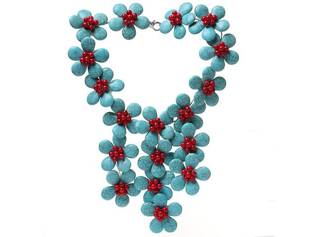 Classic New Design Fan Shape Blue Turquoise And Round Red Coral Flower Pendant Party Necklace  Classic New Design Fan Shape Blue turquoise And Round Red Coral Flower Pendant Party necklace