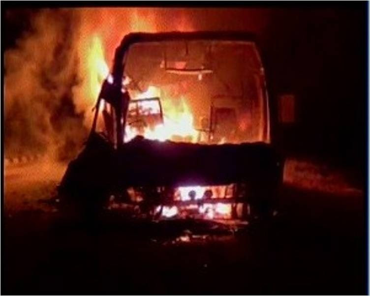 Transport bus catches fire: 17 injured