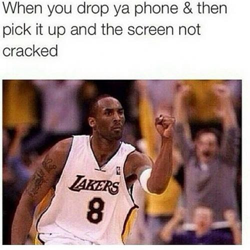 When you drop ya phone & then pick it up and the screen ...