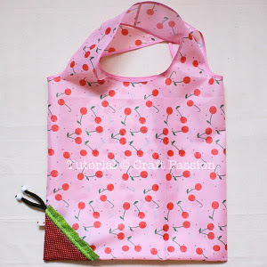 grocery bag with strawberry drawstring bag