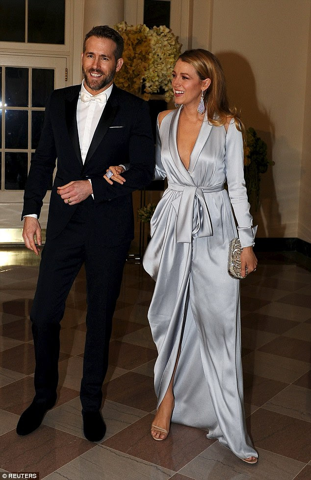 Pomp: Ryan Reynolds and his stunning wife Blake Lively were glowing with pride as they made their grand entrance to a state dinner at the White House, which hosted Canadian Prime Minister Justin Trudeau, on Thursday