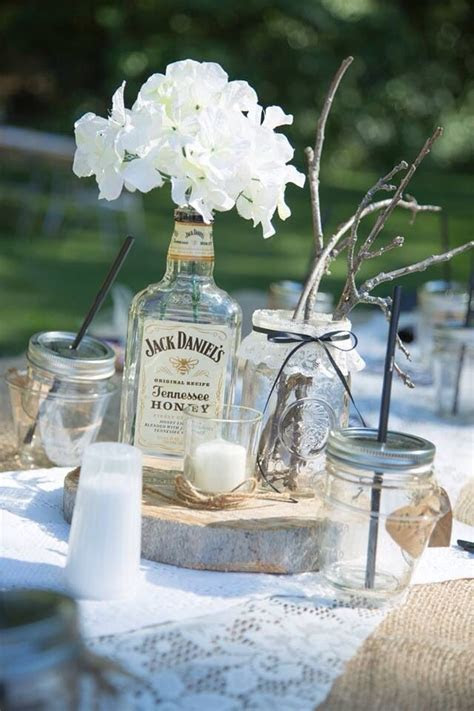 Jack Daniels honey hydrangea rustic wedding centerpiece