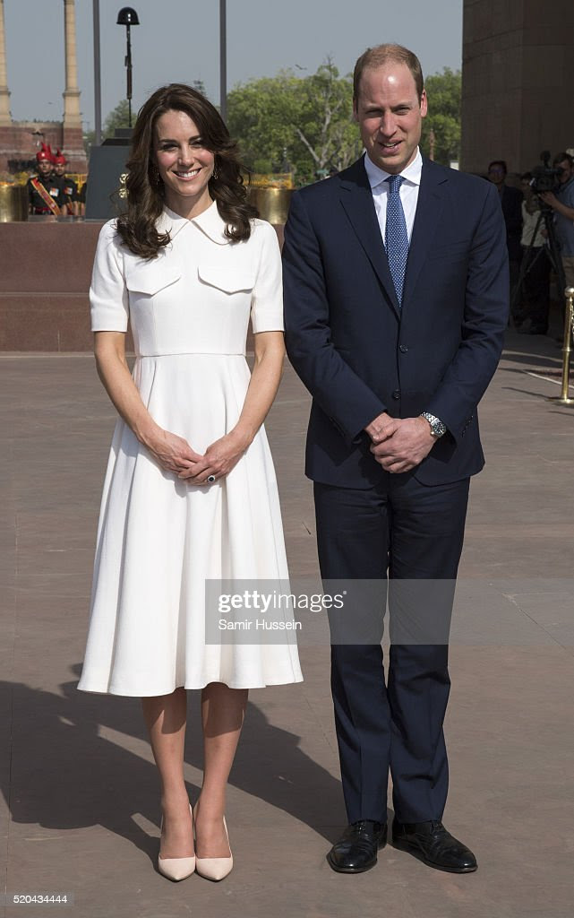 Catherine, Duchess of Cambridge and Prince William, Duke of Cambridge visit India Gate Memorial where they laid a wreath to honour the soldiers from Indian regiments who served in World War I, on April 11, 2016 in New Delhi, India.