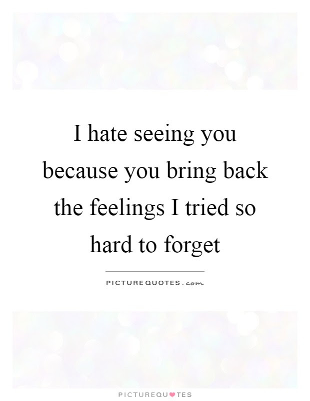 I Hate Seeing You Because You Bring Back The Feelings I Tried So