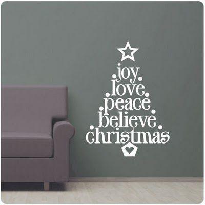 word Christmas tree vinyl wall