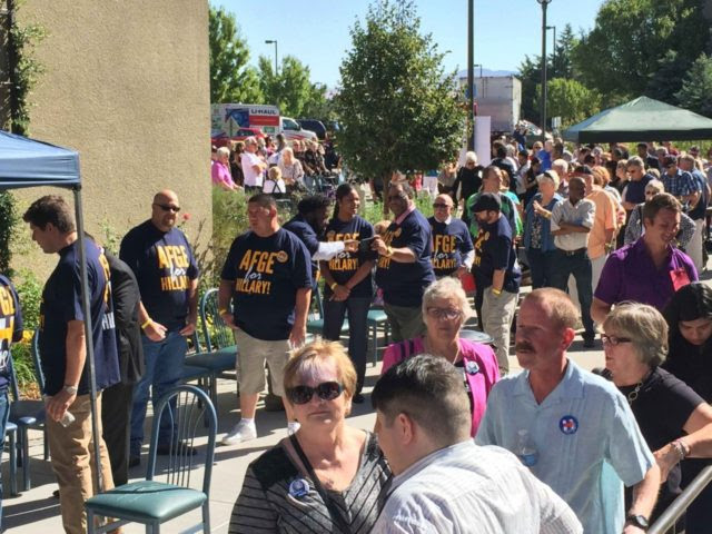 Hillary rally line (Joel Pollak / Breitbart News)