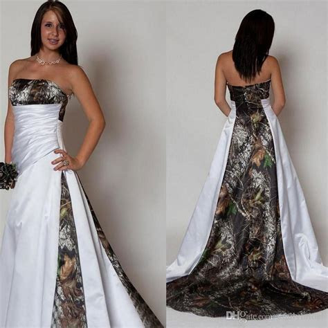 Discount Strapless Camo Wedding Dresses Pleated A Line