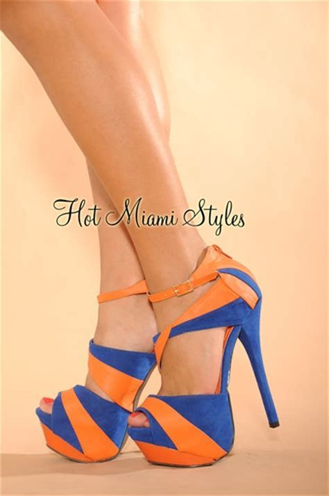 Royal Blue Tangerine Color Block Open Toe High Heels Sandals