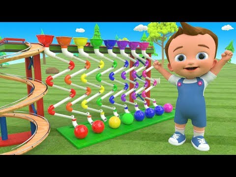 Little Baby Fun Learning Colors for Children with Color Balls ZigZag Pipes Wooden ToySet 3D Kids Edu