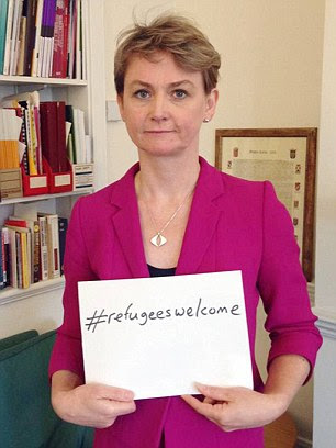 Bad signs: Posturing politicians including Yvette Cooper brandished their 'brave' slogan