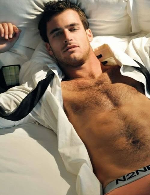 men in bed, sultry, half dressed, underwear, hairy chest, ruffled business attire, sexy men