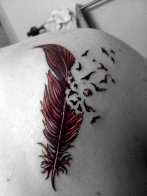 Birds Flying From Red Feather Tattoo