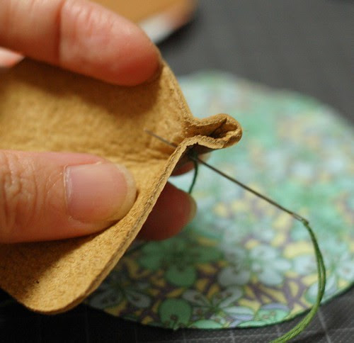 How to make a leather bottom pincushion 10