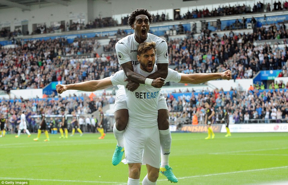Fernando Llorente had equalised for hosts Swansea but his goal was all in vain as City came back to win the match