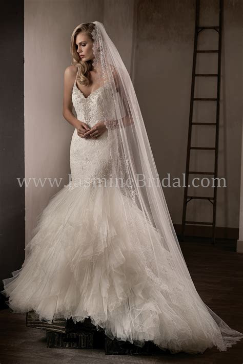 T192015 V neck Lace & Tulle Fit & Flare Wedding Dress