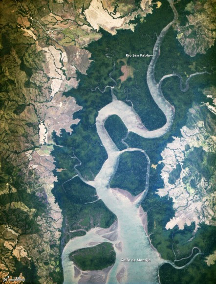 The first light from the new ISERV camera system, taken  on February 16, 2013 shows the Rio San Pablo as it empties into the Golfo de Montijo in Veraguas, Panama. NASA image by Burgess Howell, SERVIR Global program.