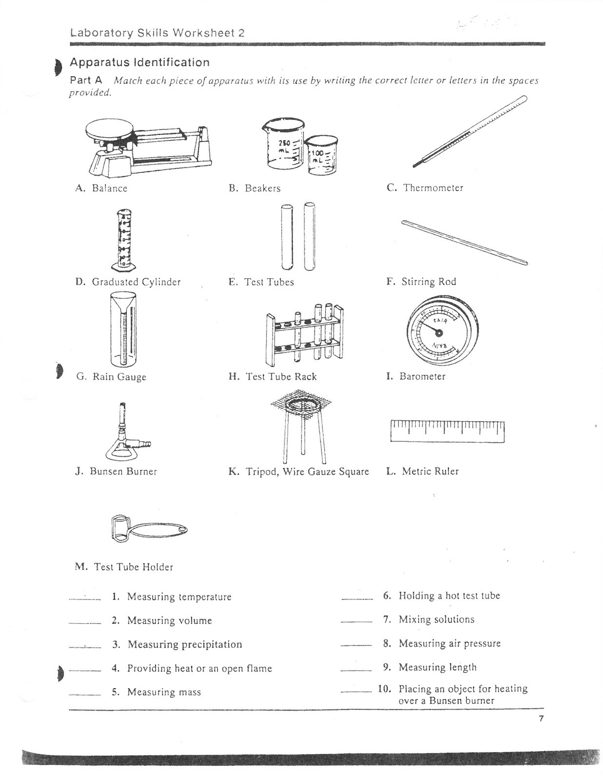 32 Lab Equipment Worksheet Answer Key