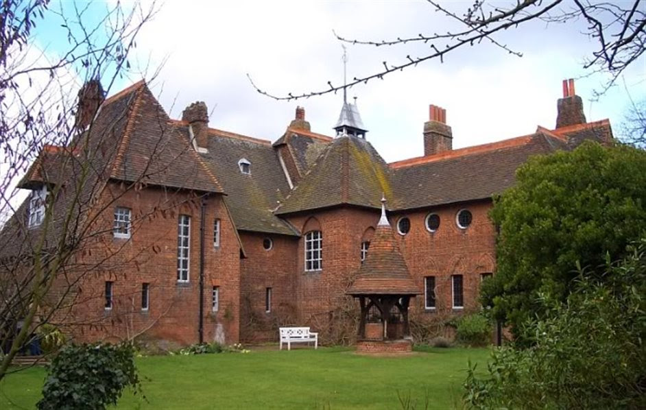 Series of bullseye windows at Red House, England built for William Morris