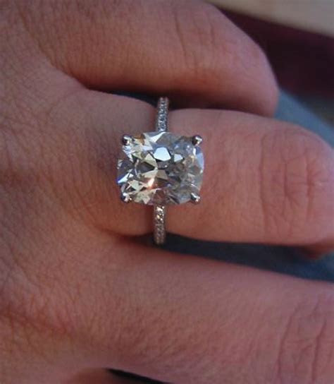 Real Ritani Engagement Rings   3 Carat Cushion Cut Diamond