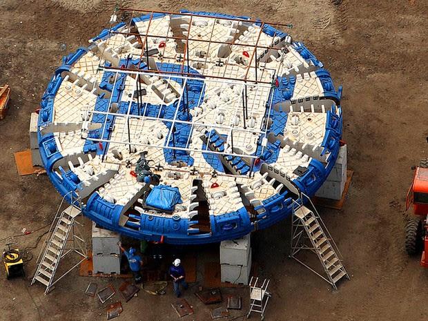 Este é o maior tatuzão da América Latina, e o maior equipamento já utilizado em obras metroviárias no Brasil (Foto: Divulgação\ Linha 4 do Metrô )