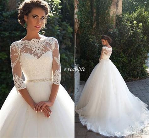Vintage Lace 3/4 Long Sleeve Ball Gown Wedding Dresses