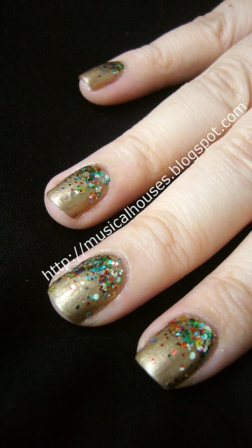 Gold and Glitter Libertine Fashion Week inspired manicure 4