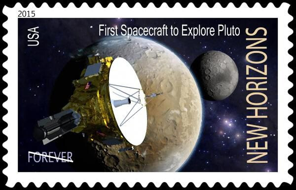 A U.S. postage stamp commemorating the New Horizons spacecraft's flyby of Pluto next year.