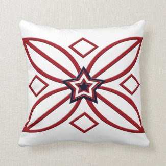 Red White Blue Star Ornament Pillow