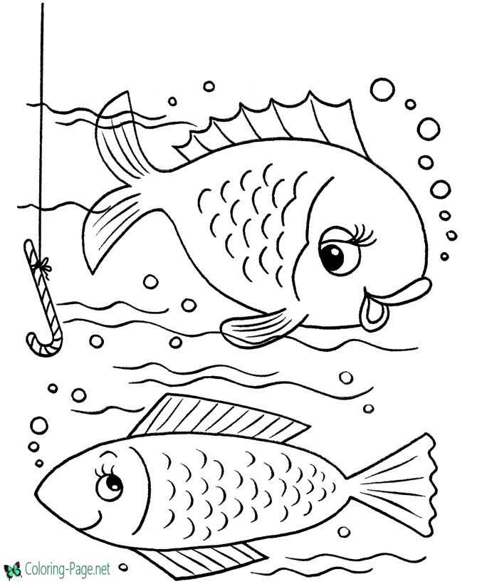 Fish Coloring Pages Two Fish Hook