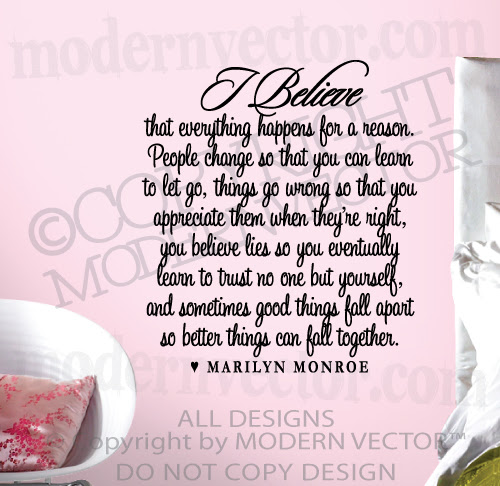 Marilyn Monroe Quote Vinyl Wall Decal I Believe Vinyl Sticker ...