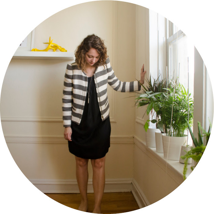 black dress, what to wear with, striped jacket, workwear, neutral outfit, case of the wednesdays