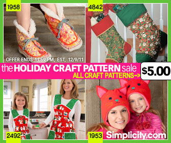 All Craft Patterns $5 at Simplicity.com -ends 12/9