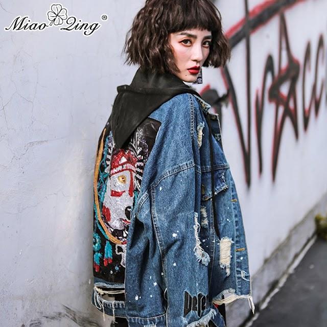 Beste Koop MIAOQING Mode Streetwear Jeans Jassen Vrouwen Punk Patchwork Kralen Lovertjes Cowboy Gat Hooded Denim Kwastje Goedkoop