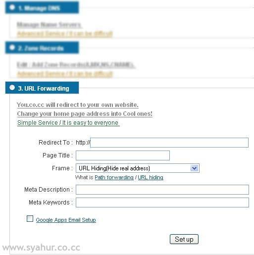 URL Forwarding