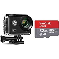 Xmate Stunt Sports Action Camera (Black)   Fast Mode - up to 120 FPS Video Recording  16MP Camera   4K Video Vecording   Water-Resistant + SanDisk UHS-I A1 98Mbps 32GB Ultra MicroSD Memory Card