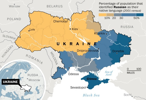 Ukraine's language divide. Data source: 2001 national census. (Laris Karklis/Washington Post)