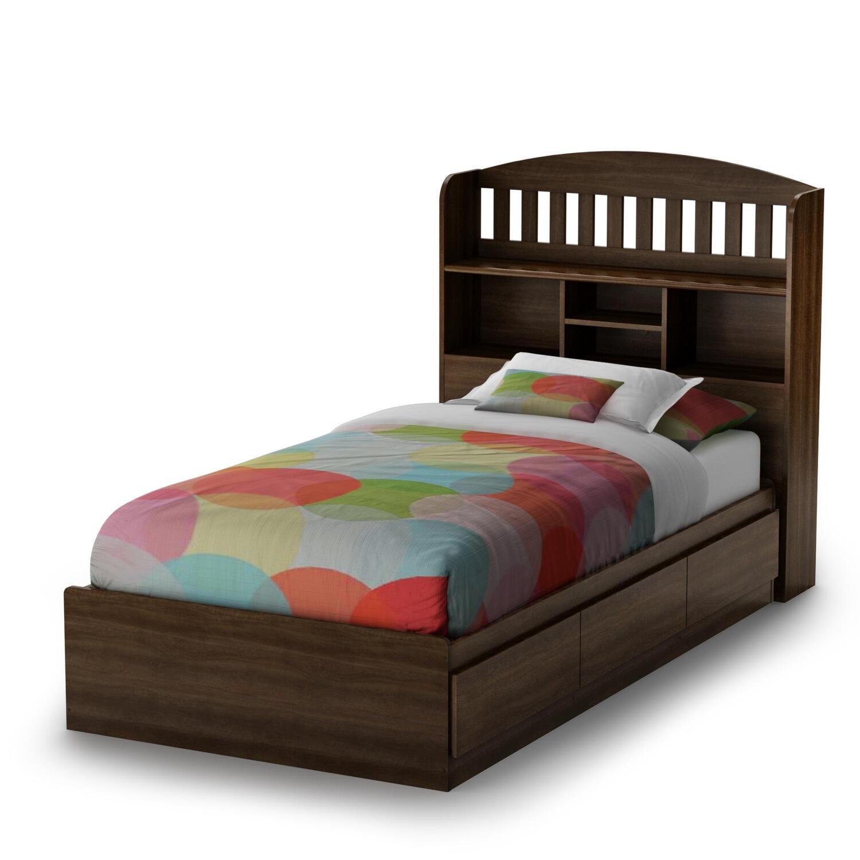 South Shore Newton Twin Mates Bed & Bookcase Headboard by OJ ...