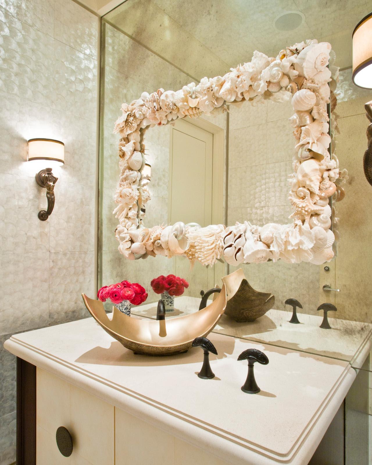 Contemporary Metallic Bathroom With Seashell Mirror | HGTV
