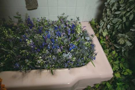 floral filled bathtub