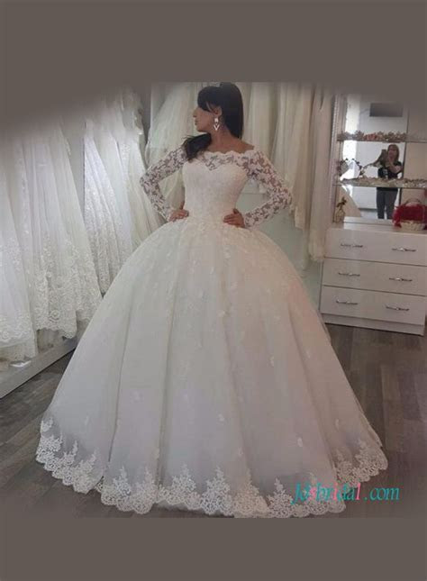H1126 Modest lace illusion long sleeved tulle ball gown