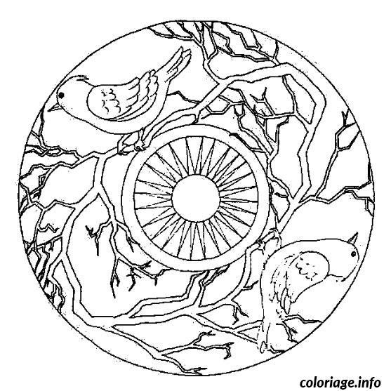 Coloriage Mandala Oiseau dessin
