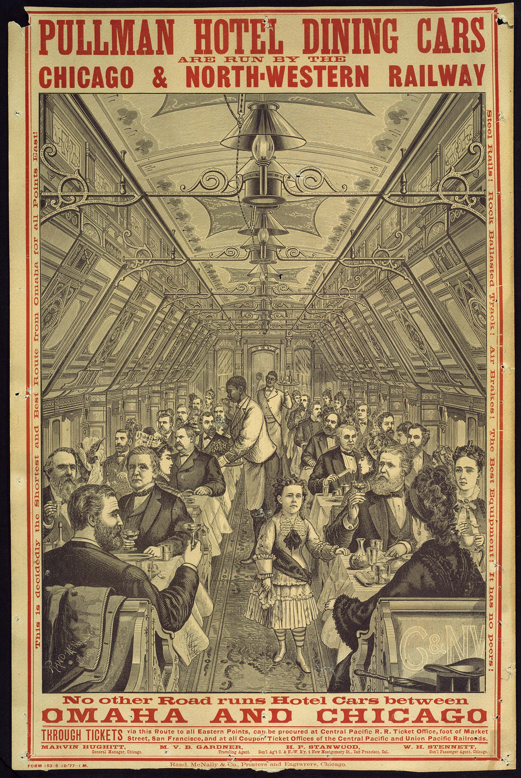 'Pullman Hotel Dining Cars Are Run by the Chicago & North-Western Railway,' unknown artist, ca. 1887. Huntington Library, Art Collections, and Botanical Gardens.