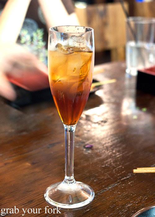 takara brown sugar umeshu at yebisu izakaya, regent place sydney