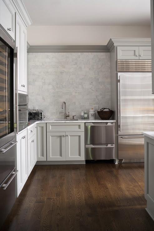 Carrara Marble Subway Tile - Transitional - kitchen - M ...