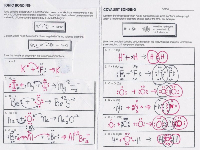 Ionic Bonding Worksheet Answer Key Worksheet List