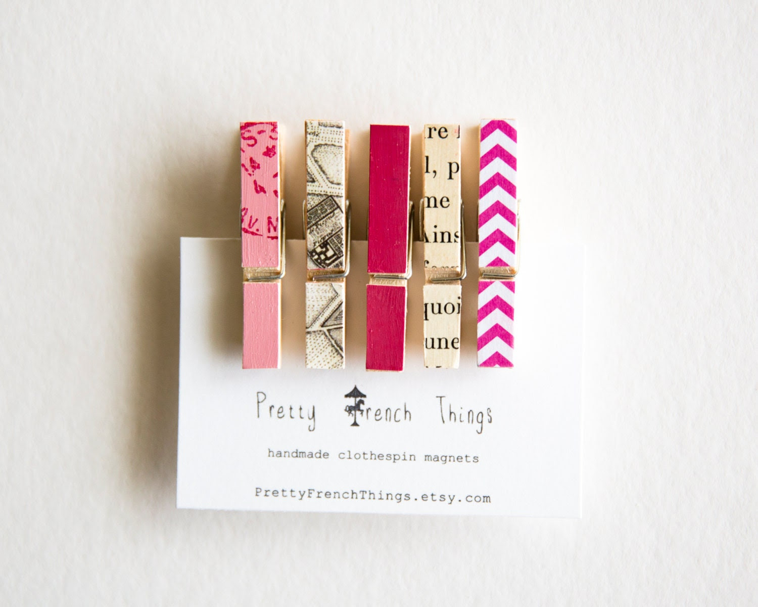 Mini Clothespin Magnets in Pink - PrettyFrenchThings