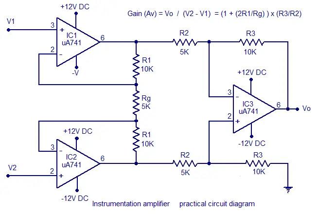 practical instrumentation amplifier circuit