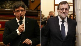 El president Carles Puigdemont i el cap de l'executiu espanyol, Mariano Rajoy (ACN/EFE)